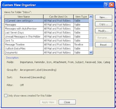 Microsoft Outlook - Custom View Organizer