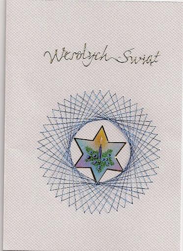 Kartka wykonana haftem matematycznym