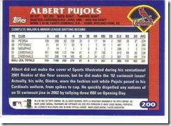 Card 34 Albert Pujols Back