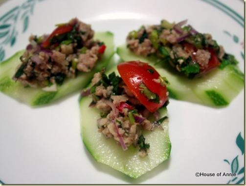 thai larb on cucumbers
