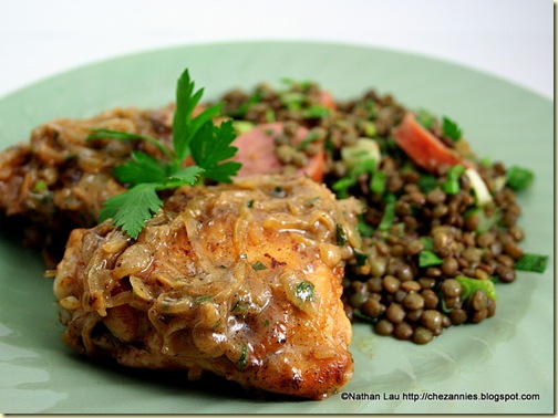 Chicken with Vinegar &amp; Onions, Warm French Lentil Salad with Smoked Sausage