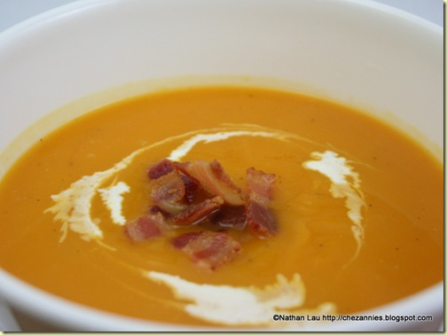 Roasted Butternut Squash Soup with Bacon and Cream