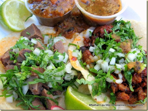 Lengua and Al Pastor Tacos from El Paisa Taqueria in San Jose