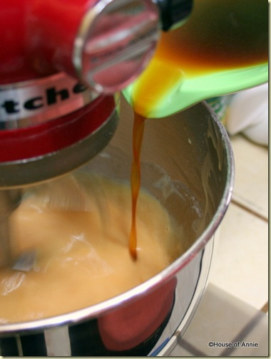  Pouring Caramel Butter Sauce in to Malaysian Honeycomb Cake Batter