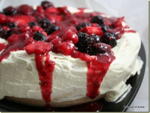 Pavlova with Strawberries Raspberries and Blackberries