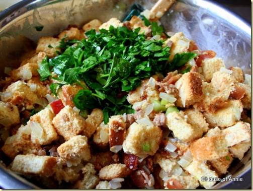 parsley on chestnut and sausage stuffing