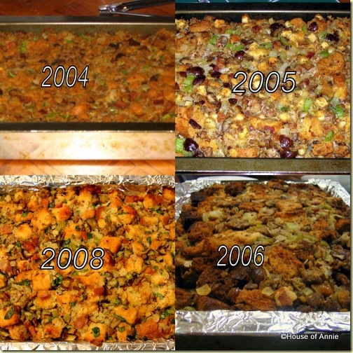 chestnut and sausage stuffing thru the years