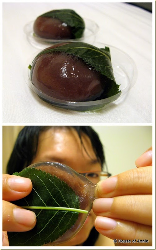 funky clear red bean mochi
