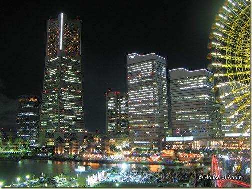 minato mirai yokohama at night