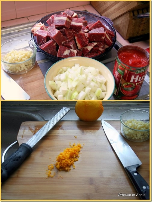 Beef Stew with garlic chuck tomatoes and Orange Zest