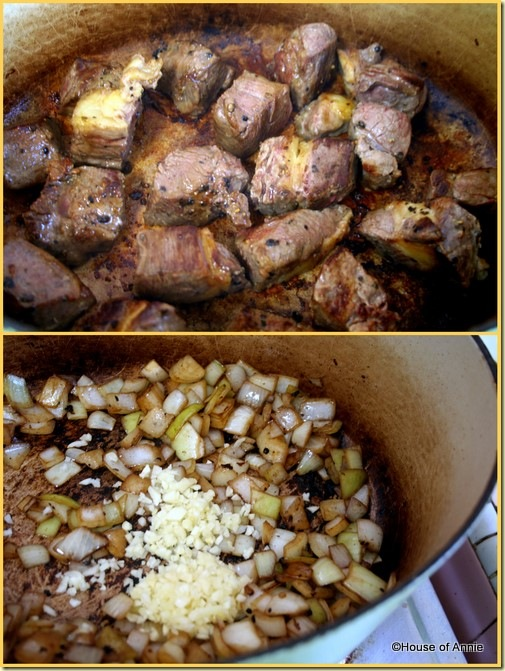 Browning the beef stew and aromatics in dutch oven