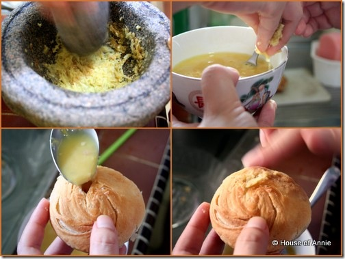 Filling Phong P'neah with egg and ginger