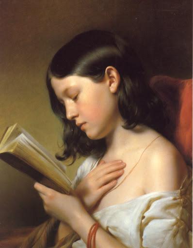 Franz Eybl [ Jeune fille lisant ] 1850