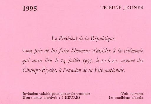 Invitation défilé du 14 juillet 1995