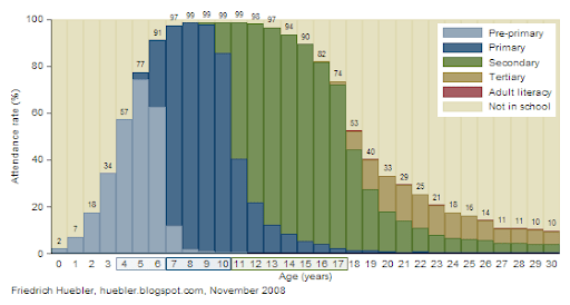 Level of education attended for persons 0 to 30 years, Brazil 2006