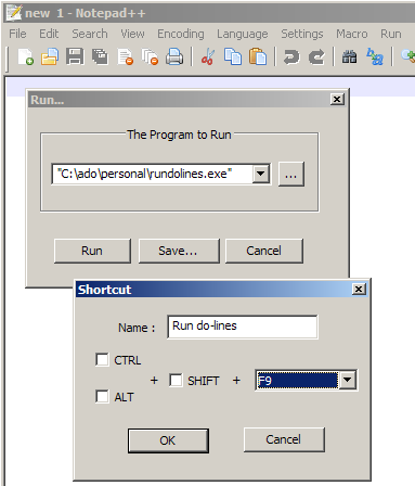 Notepad++ dialog to add the rundolines program