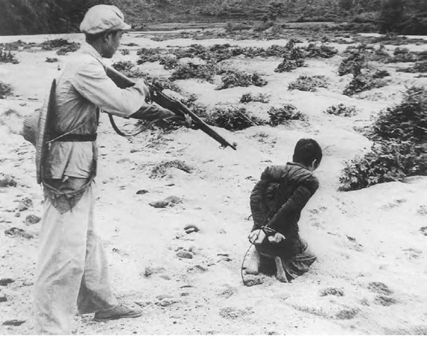 This atrocious image-the execution of a Chinese farmer by a Communist soldier—was circulated by the U.S. government overseas in the 1950s.