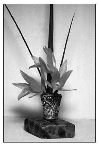 This miniature arrangement contains only three small cattleya flowers for the mass and three pointed leaves for the line element.