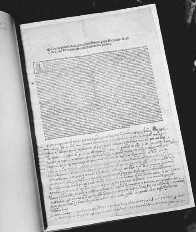 Pope Alexander VI's Bull of Demarcation. This bull, issued by Alexander in 1493, divided the world between Spain and Portugal. The document is now held by the Library of Congress in Washington, D.C.