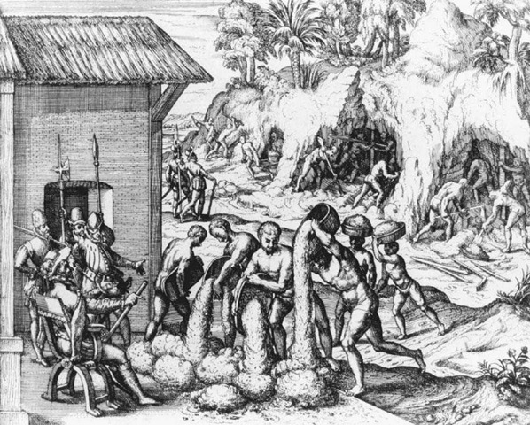 The Treatment of African Slaves in the New World. This engraving was included in Theodor de Bry's 1594—1596 edition of La historia del Mondo Nuovo (History of the New World) by Girolamo Benzoni, originally published in 1565. It depicts Spaniards overseeing slaves from Guinea as they labor in the Americas.