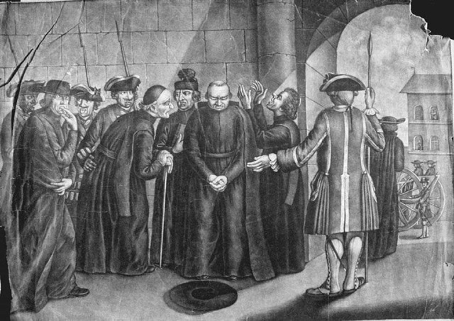 The Expulsion of the Jesuits from Spain. In the wake of increasing anticlericalism in Europe, the Jesuits were expelled from Portuguese dominions in 1759, from those under French jurisdiction in 1761, and finally from Spanish territories in 1767. This late eighteenth-century engraving by Charles Maucourt depicts their expulsion from Spain.