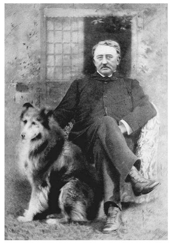 Cecil Rhodes. The nineteenth-century British diamond magnate, colonial politician, and empire builder, photographed with his pet collie.