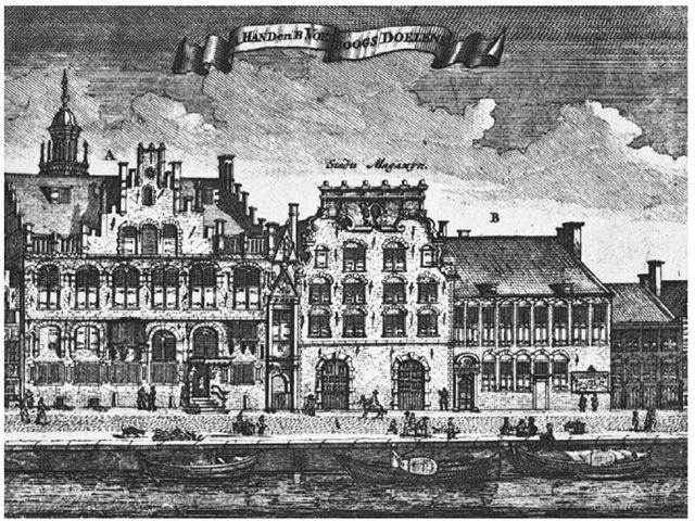 The West India Company's House in Amsterdam. This illustration, published in 1693, shows the offices of the Dutch West India Company on the Cingel (or Singel) canal in Amsterdam, Netherlands.