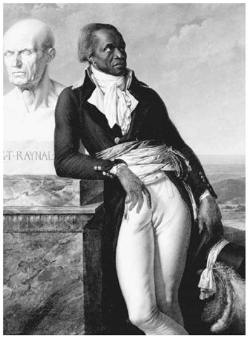 Portrait ofJean-Baptiste Belley (1797) by Anne-Louis Girodet de Roucy-Trioson. Senegalese-born Belley, a leader of the Haitian revolution, became a representative to the French National Assembly from Saint-Domingue. In his portrait, he leans against a bust of Abbe Raynal, an eighteenth-century French critic of slavery.