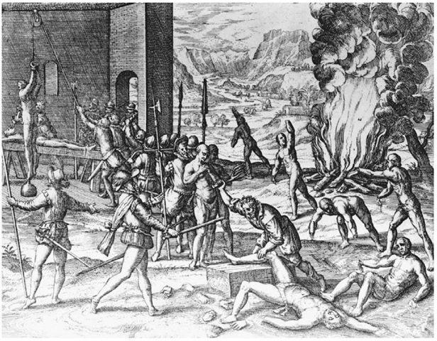 The Torturing of Native Americans by Spanish Explorers. This mid-sixteenth-century print by Theodor de Bry illustrates reports of the torture of Native Americans in Florida by the Spanish explorer Hernando de Soto and his men.
