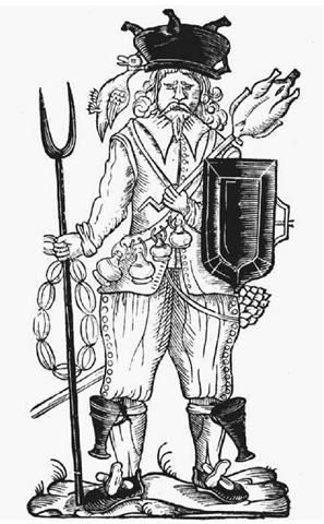 "''English Soldier Raised for Service in Ireland."" This satirical drawing, published circa 1540, depicts the typical English soldier in Ireland as an unabashed plunderer."