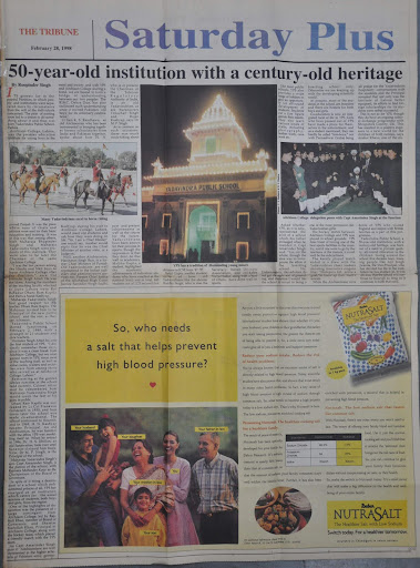 Article on Yadavindra Public School, Patiala, by Roopinder Singh published in The Tribune dated February 28, 1998. YPS celebrated its Golden Jubilee that year.