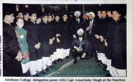 Aitchison College delegation poses with Capt Amarinder Singh at the Golden Jubilee function.