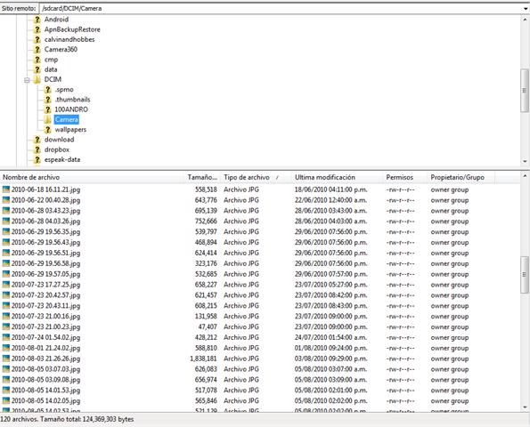 Archivos en FileZilla