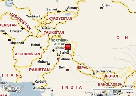 The red pin marks Ladakh
