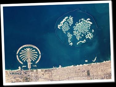 Arquipélagos artificiais em Dubai vistos da órbita (Foto: Earth Observatory/NASA / Divulgação)
