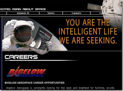 """Site da Bigelow Aerospace: """"Você é a vida inteligente pela qual estamos procurando."""" (Foto: reprodução)"""