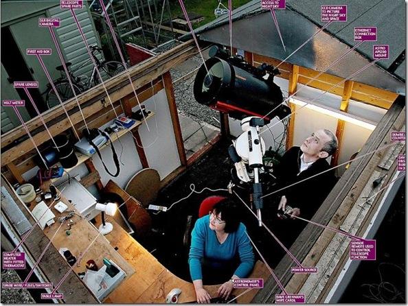David Grennan e sua mulher, Carol, no observatório caseiro que ele montou no terraço de sua casa, em Dublin, na Irlanda (Foto via R7)