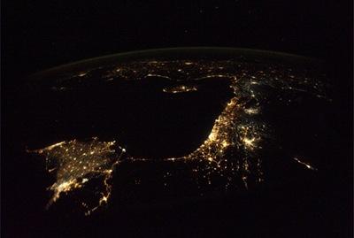 A porção leste da região do Mediterrâneo, visto da ISS (Foto; Douglas Wheelock)