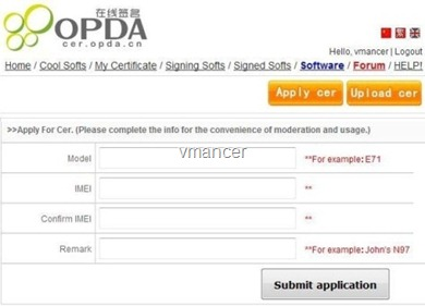 Symbian Certificate Application and software online signing - OPDA.CN3