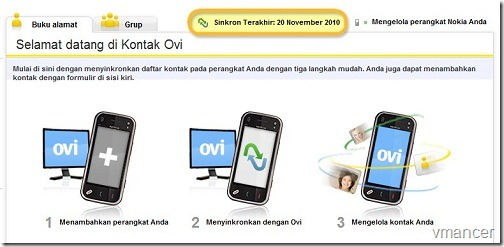 ovi - backup Nokia mobile phone contact