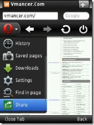 opera mini 6 for symbian - share menu