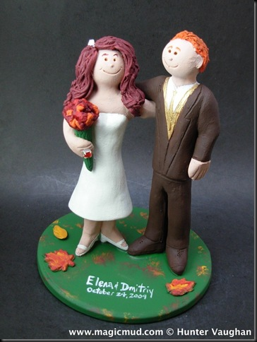 Fall Colors Wedding Cake Topper we have them posed together with some fall