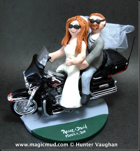 Custom Wedding Cake Toppers Bride Driving Harley Wedding