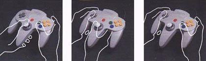 Gráfico mostrando as 3 formas de se utilizar o controle do N64 - A História dos Vídeo Games - Nintendo Blast