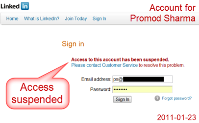 LinkedIn suspends my access