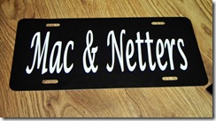 Mac and Netters License Plate