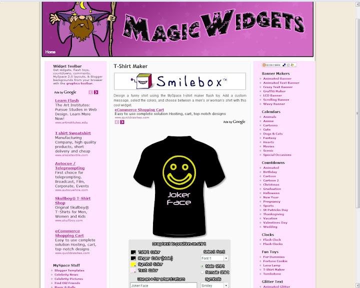 T-Shirt Maker - Layouts de camisas para o MySpace