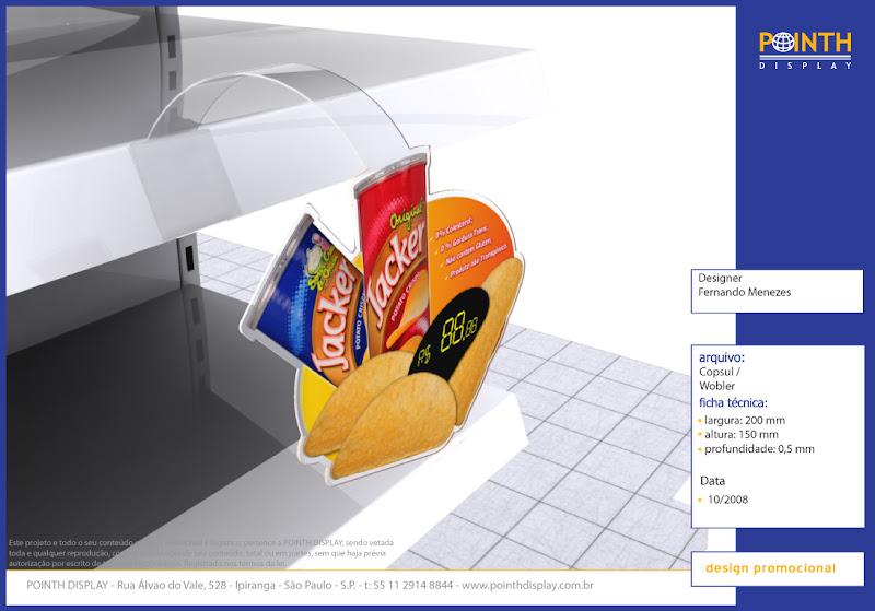 Display expositor Wobbler Copsul para comunicação visual em PDV Material: Petg