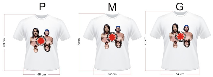 Camisa Red Hot Chili Peppers RHCP - Medidas
