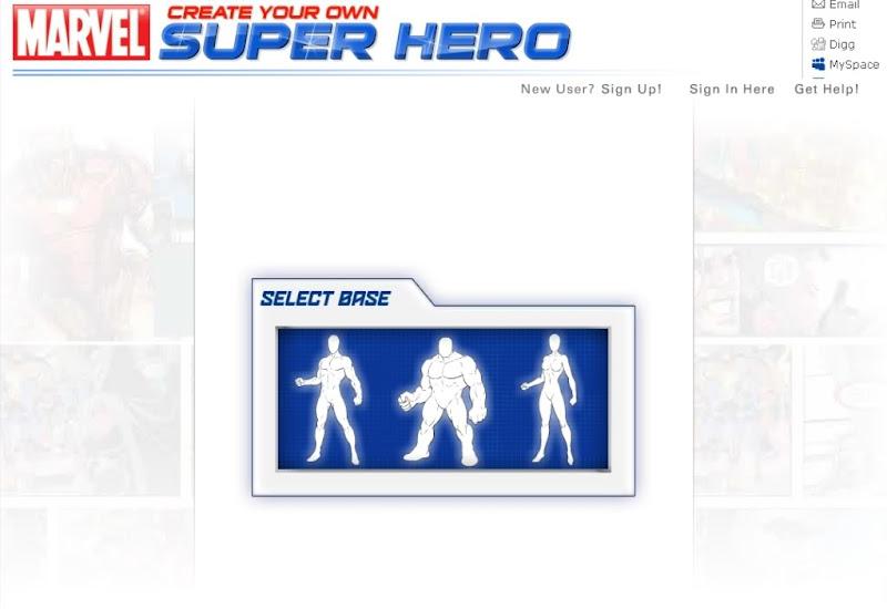 Marvel Create your own Super Hero - Crie seu próprio Super-herói - Desenho online